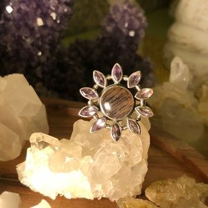 Black Sunstone Amethyst Ring 925 sterling silver
